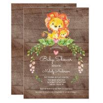 Rustic Safari Jungle Lion Baby Shower Invitation