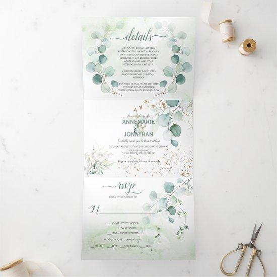 Rustic Sage & Gold Eucalyptus Botanicals Wedding | Tri-Fold Invitation