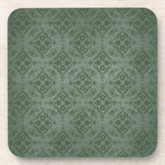 Rustic Sage Green and Pewter Damask Beverage Coaster