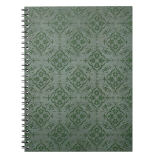Rustic Sage Green and Pewter Damask Notebook