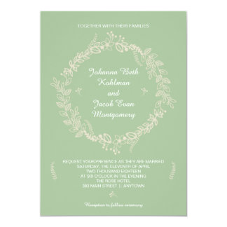 Rustic Sage Green Outlined Floral Wreath Wedding Card