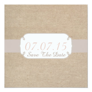 Rustic Salmon and Beige Burlap Save The Date Card