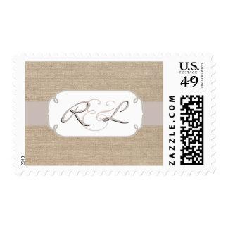 Rustic Salmon Burlap Monogrammed Postage Stamps