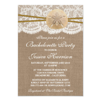 Rustic Sand Dollar Beach Bachelorette Party Card