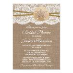 Rustic Sand Dollar Beach Bridal Shower 5x7 Paper Invitation Card