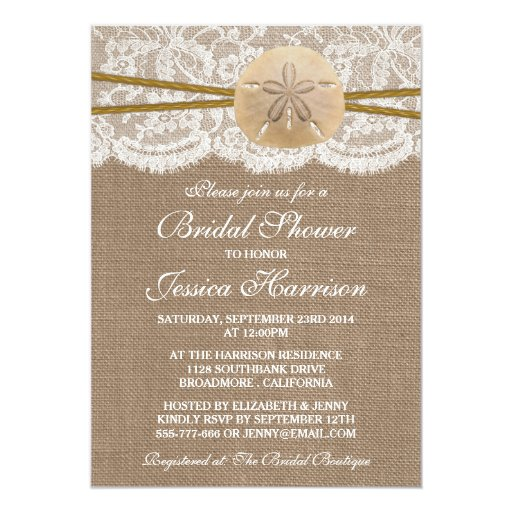 Rustic Sand Dollar Beach Bridal Shower Personalized Announcement