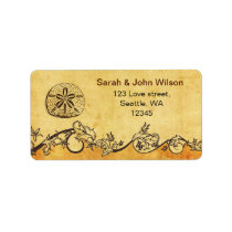 rustic sand dollar beach wedding address labels
