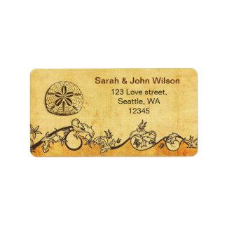 rustic sand dollar beach wedding address labels