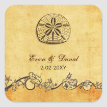 rustic sand dollar beach wedding  envelopes seals