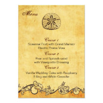 rustic sand dollar beach wedding menu cards