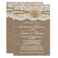 Rustic Sand Dollar Beach Wedding Rehearsal Dinner Invitation