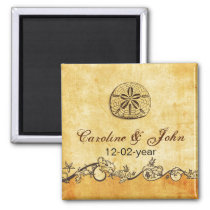 rustic sand dollar beach wedding save the date magnet