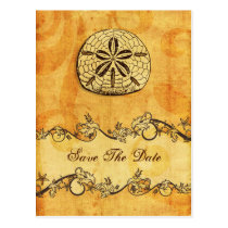 rustic sand dollar beach wedding save the date postcard
