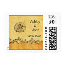 rustic sand dollar, beach  wedding stamps