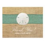 Rustic Sand Dollar Green Burlap Ribbon Thank You Postcard