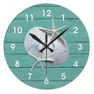 Rustic Sand Dollar Starfish Wall Clock