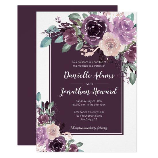 Rustic Sangria Dark Purple Mauve Flowers Wedding | Invitation