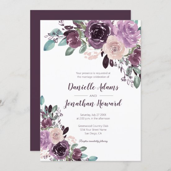 Rustic Sangria Floral Wedding | Invitation