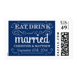 Rustic Sapphire Blue Vintage Wedding Postage
