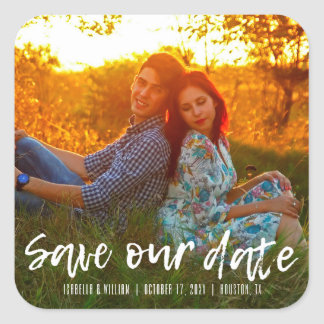 Rustic Save our Date | Save the Date Square Sticker