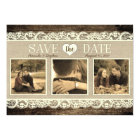Rustic Save the Date   Barn Wood Lace and Burlap Card