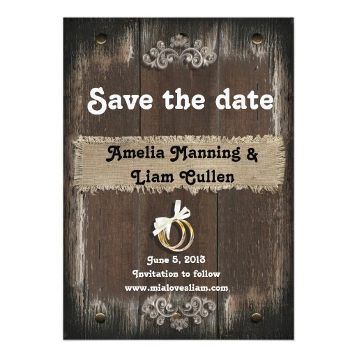 Rustic Save the Date Card - On Wood Background