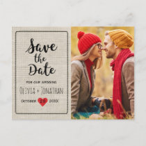 Rustic Save the Date | Charming Vintage Heart Announcement Postcard