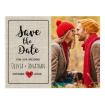Rustic Save the Date | Charming Vintage Heart Postcard