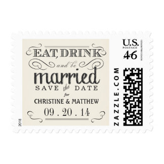 Rustic Save the Date Cream White Wedding Postage