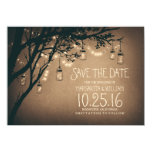 Rustic Save the Date & Fireflies Mason Jars 4.5x6.25 Paper Invitation Card