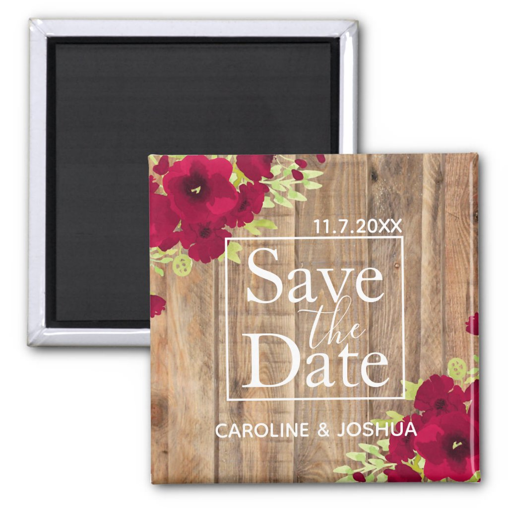 Rustic Save the Date Floral Wedding Magnet