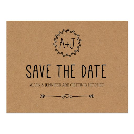 Rustic Save the Date on Kraft Paper