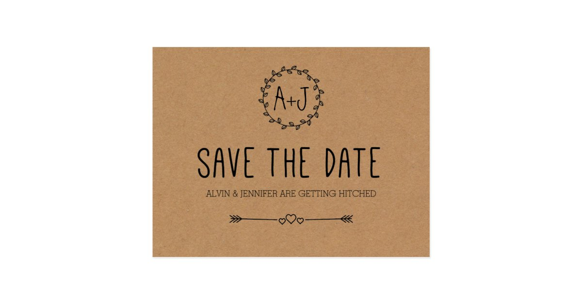 Rustic Save The Date Kraft Paper Save The Date Postcard