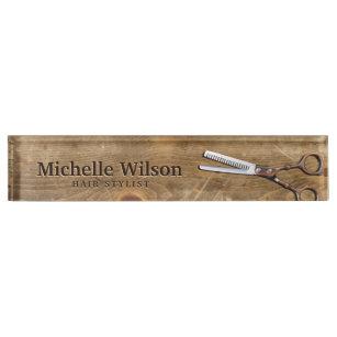 Rustic Scissors Wood Makeup Beauty Hair Salon Name Plate