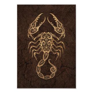 Rustic Scorpio Zodiac Sign on Stone Effect 3.5x5 Paper Invitation Card