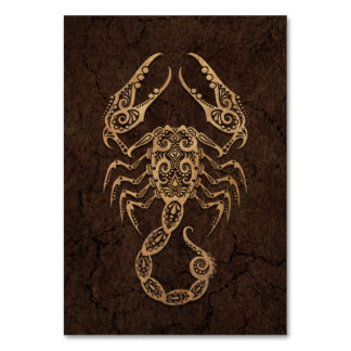 Rustic Scorpio Zodiac Sign on Stone Effect Table Cards