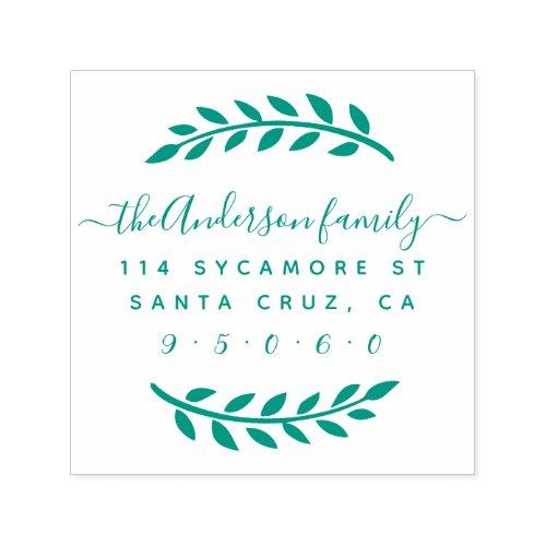 Rustic Script Family Name Wreath Return Address Self_inking Stamp