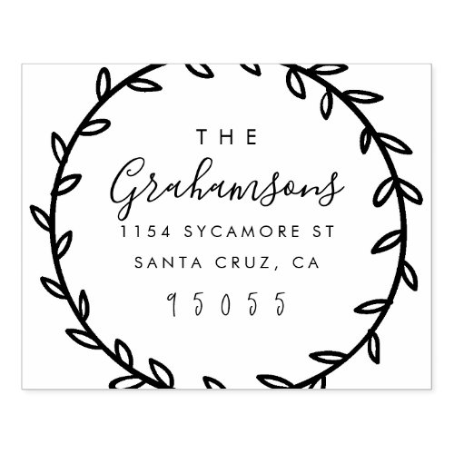Rustic Script  Hand_drawn Wreath Return Address Rubber Stamp