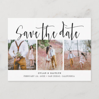 Rustic Script Three Photos Save the Date Postcard