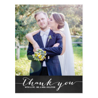 Rustic Script Wedding Vertical Thank You II Postcard