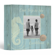 Rustic Sea Green Family Vacation Album 3 Ring Binder