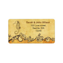 rustic seahorse beach wedding address labels