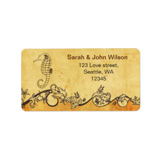 rustic seahorse beach wedding address labels