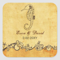 rustic seahorse beach wedding  envelopes seals
