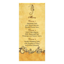rustic seahorse beach wedding menu cards