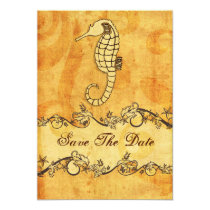 rustic seahorse beach wedding save the date card
