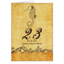 rustic seahorse beach wedding table numbers card