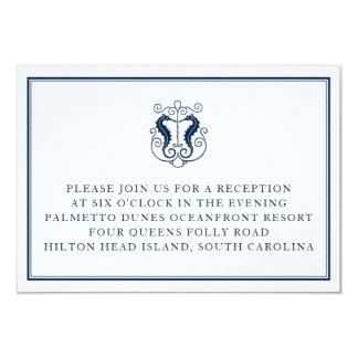 Rustic Seahorse Reception Card- Navy and Coral Card