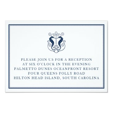 Beach Themed Rustic Seahorse Reception Card- Navy and Coral Card