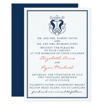 Beach Themed Rustic Seahorse Wedding Invitation- Navy and Coral Card